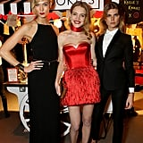 Hostesses Karlie Kloss and Natalia Vodianova posed with model Maryna Linchuk.