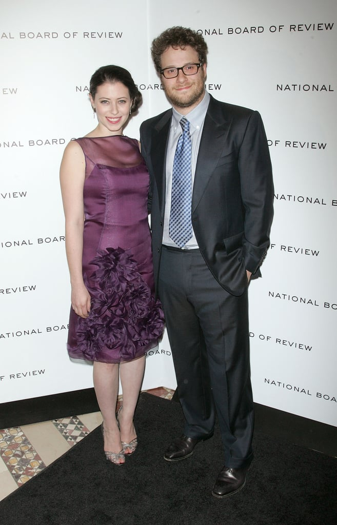 Seth Rogen put his arm around Lauren Miller on the black carpet.
