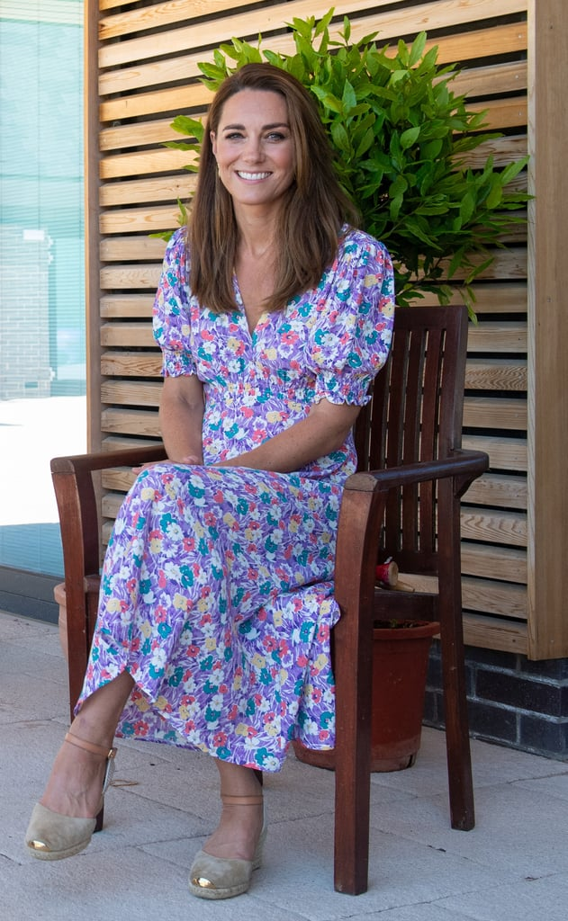 Kate Middleton Wears Faithfull the Brand Purple Floral Dress