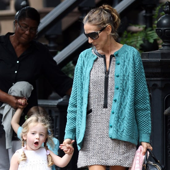 Sarah Jessica Parker Wearing Tweed and Leather Dress