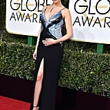 When She Wore a Mugler Gown With a Daring Thigh-High Split to the 2017 Golden Globes