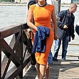 Salma Hayek proved orange's staying power in spades with this bold fitted sheath — her nude pumps provided the low-key accent necessary to pull off this loud look.