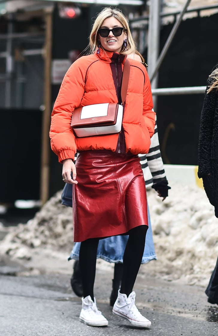 Wear Them With a Patent Leather Skirt and a Puffer Coat | How to Wear High Top Sneakers 2018 ...