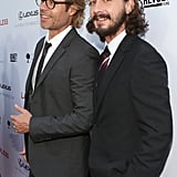 Costars Guy Pearce and Shia LaBeouf smiled at the LA premiere of their new film, Lawless.