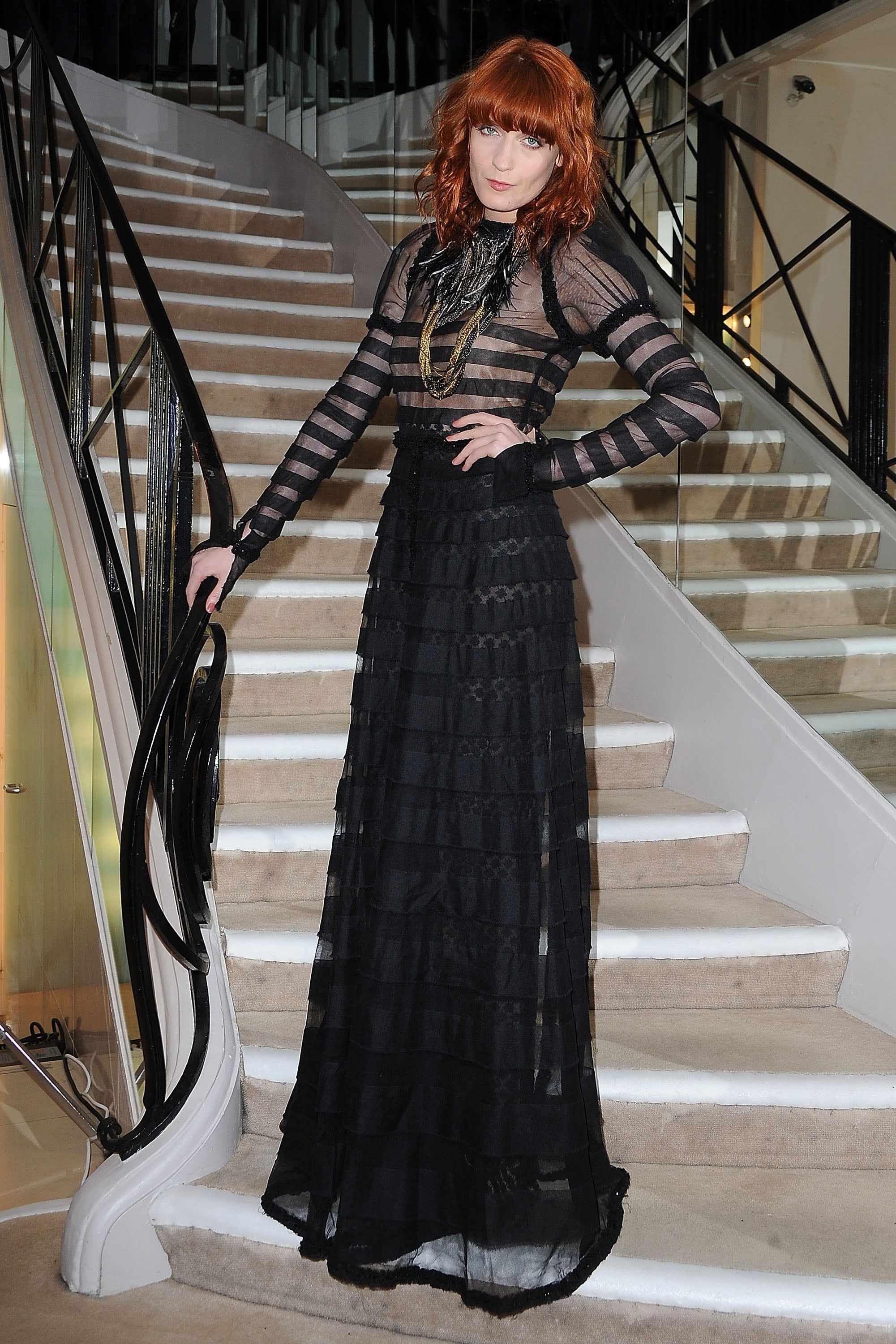 Florence Welch looked amazing in a sheer floor length number.