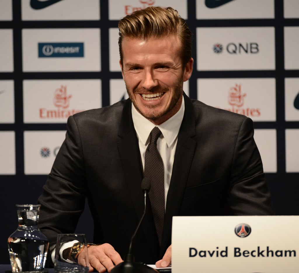 David Beckham held a press event in Paris to announce the news that he has joined Paris St. Germain.