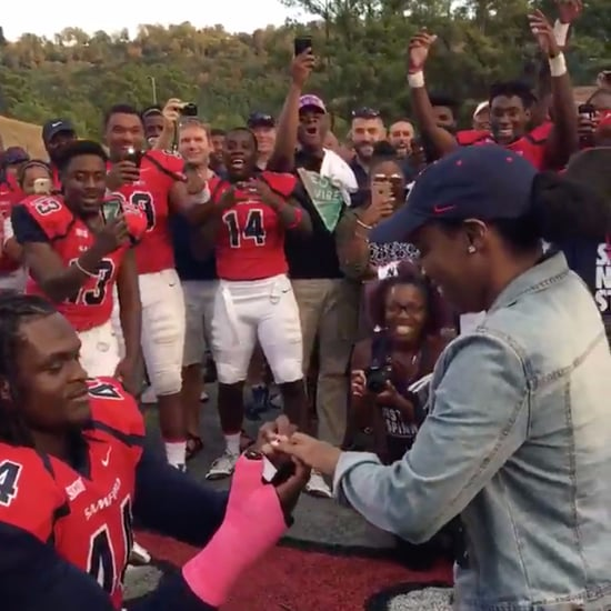 Football Player Proposes on Field With Teammates