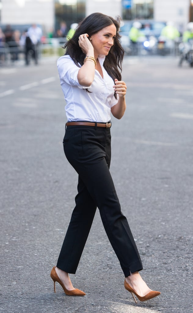 Meghan Markle Looks Polished in a Classic White Button-Down and Trousers From Her New Clothing Line