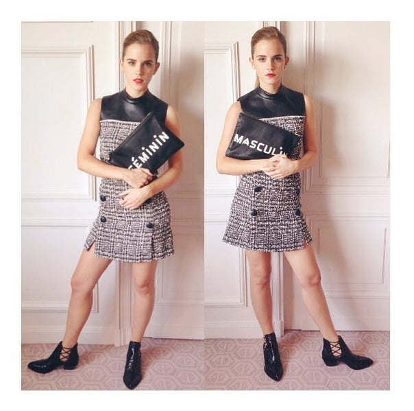 Emma showed us preppy with an edgy twist, thanks to a dose of leather. Her button-front Erdem dress was complemented by a Clare Vivier statement clutch, Alexa Wagner strappy Chelsea boots, and Monique Pean jewels.