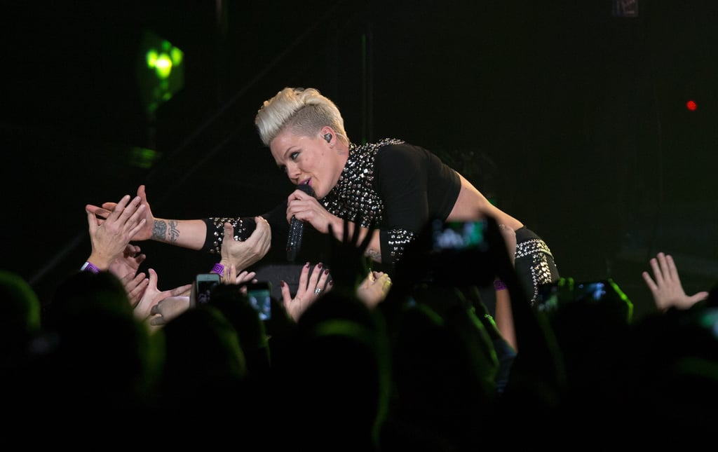Pink shared some love for her fans at a concert in Indiana in November 2013.