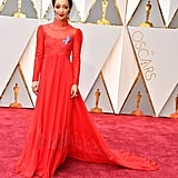 Ruth was regal in red Valentino with a ruby tiara at the 2017 Oscars.