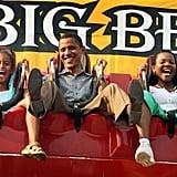 Enjoying an Iowa State Fair ride during his presidential campaign in 2007