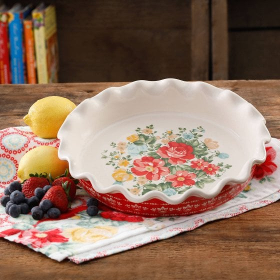 The Pioneer Woman Vintage Floral 9\  Pie Plate ... & The Pioneer Woman Vintage Floral 9\