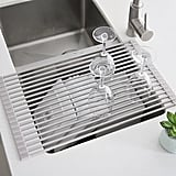 Stylish Stainless Steel Collapsible Over the Sink Dish Rack