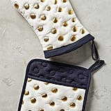 Anthropologie Gold Polka Dotted Pot Holder