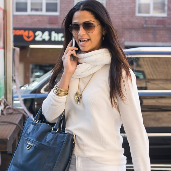 Camila Alves Wears Draper James Blue Suede Tote