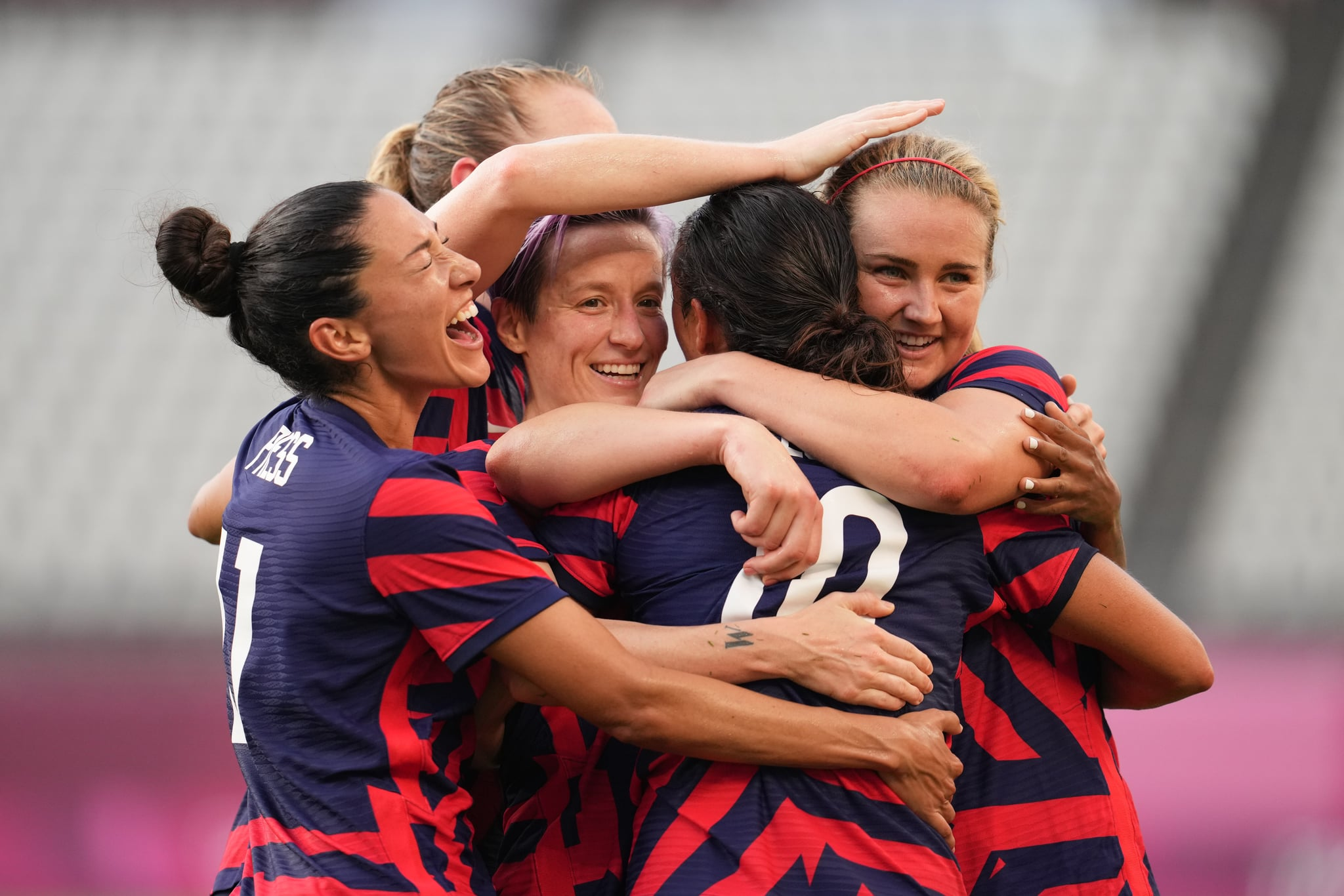 KASHIMA, JAPAN - AUGUST 5: Carli Lloyd #10 of the United States celebrates scoring with teammates during a game between Australia and USWNT at Kashima Soccer Stadium on August 5, 2021 in Kashima, Japan. (Photo by Brad Smith/ISI Photos/Getty Images)