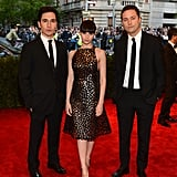 Felicity Jones — with the Proenza Schouler boys on either side — attended the Met Gala in a flirty A-line metallic-infused dressed and pointy-toe pumps.