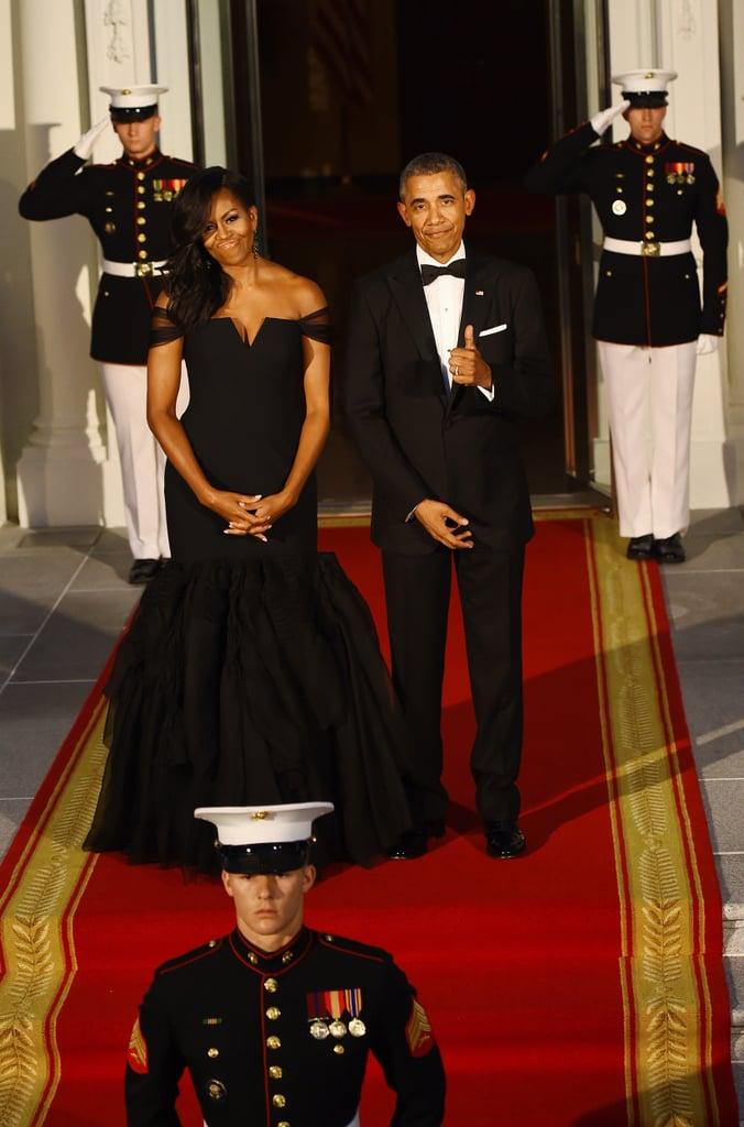 Michelle Obama Wearing Black Vera Wang Dress