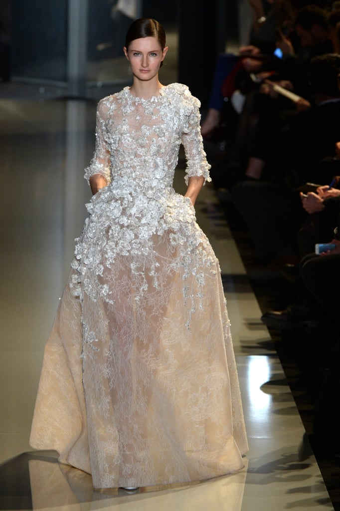 Keira Knightley would shine in this crisp ultraembellished gown, which features the most intricate detailing along the bodice.