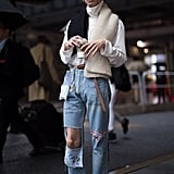 Wear a Unique Scarf With a Turtleneck and Distressed Jeans
