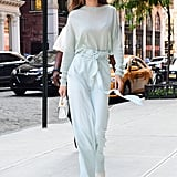 In June 2017, Gigi pulled off yet another monochrome outfit with this Sally LaPointe set and carried a Stalvey bag.