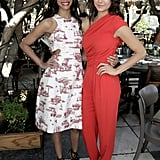 Zoe Saldana and Nina Dobrev paired up at the 25 Most Powerful Stylists Luncheon in LA on Wednesday.
