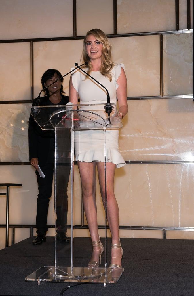On Friday, Kate Upton accepted the social media award at the Fashion Media Awards.