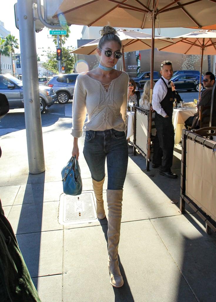 5f3191f9218 Gigi Hadid Over-the-Knee Boots | Style | POPSUGAR Fashion Photo 4