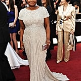 Octavia Spencer's slender train on her Tadashi Shoji dress.