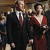 Only Cristina could pull off a red dress on her wedding day!