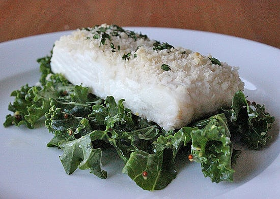 Panko-Crusted Fish Over Kale