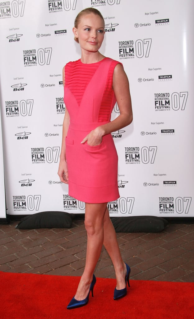 Kate made a statement on the red carpet in a pretty pink Preen number and midnight-blue heels in 2007.