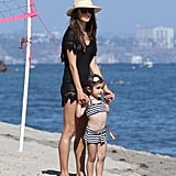 Alessandra Ambrosio hung out with her daughter, Anja, at a Malibu beach this July.