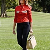 Melania Carrying a Beige Hermès Birkin Bag