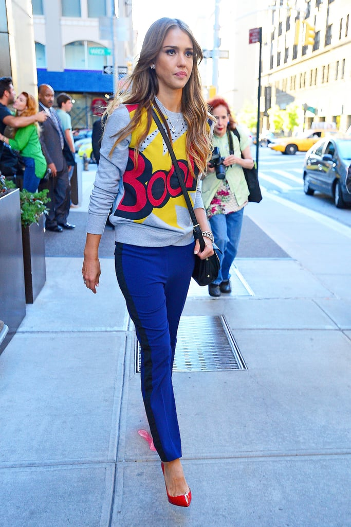 Jessica Alba arrived at 3.1 Phillip Lim x Target on the first day of New York Fashion Week wear the designer's 'Boom' sweater.