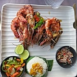 Lunch at the Sangkar Restaurant was memorable for the stunning water views and delicious Balinese food. These giant (and I mean enormous!) grilled shrimp were proof. My dish — called udang pelalah — features tiger prawns, chili, garlic, ginger, stir-fried morning glory, and sambal matah. Balinese cooking is generally pretty healthy featuring well-prepared meats with local spices and lots of rice, which is a main part of the local agriculture.