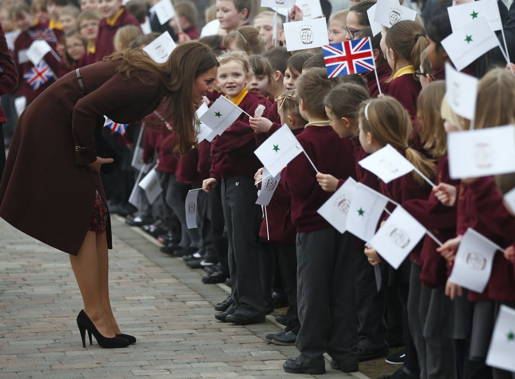Kate really is the People's Princess! She lived up to her rep by bending down to speak to a group of adorable school kids during a visit to England's Havelock Academy in March 2016.