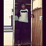Kaling showed some love for Batman in her trailer on set. Source: Instagram user mindykaling