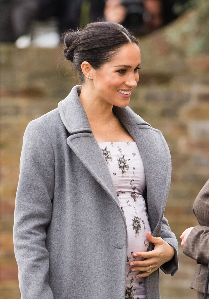 In might only be a week until Christmas, but Meghan Markle still has a full schedule. On Tuesday, the duchess ventured out on another solo royal engagement to visit the Royal Variety Charity residential care home Brinsworth House, a home for retired artists and those who spent their lives serving the entertainment industry. Meghan made the visit to see firsthand how the charity cares for its residents, and the visit comes after she and Harry attended the Royal Variety Performance in November. Of course, she was glowing during the visit, wearing a gray coat over a white patterned dress. It's safe to say it's been a busy festive period for Meghan. In between sending all of the Sussex's Christmas cards, she made a surprise appearance at the British Fashion Awards and is also no doubt getting ready for the family move to Frogmore Cottage in Windsor, ahead of the birth of her first child in the Spring. While we wait for more exciting moments from the duchess, get a closer look at all the photos from today's visit.