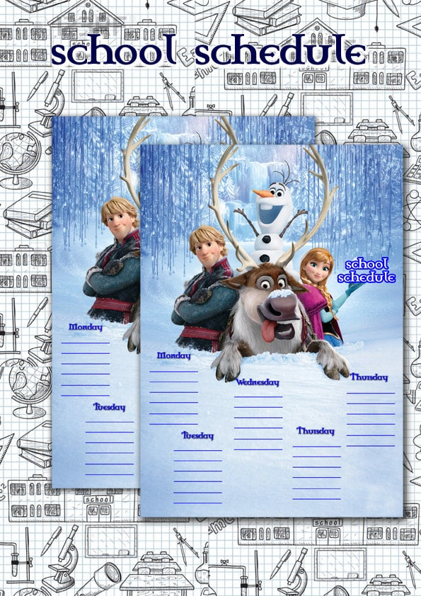 Frozen Kid's School Schedule
