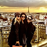 Selena Gomez, Ashley Benson, and Vanessa Hudgens took a photo together in front of the Eiffel Tower. Source: Twitter user SelenaGomez