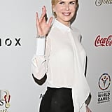 Nicole Kidman greeted the crowd at Equinox's Gold Meets Golden event.