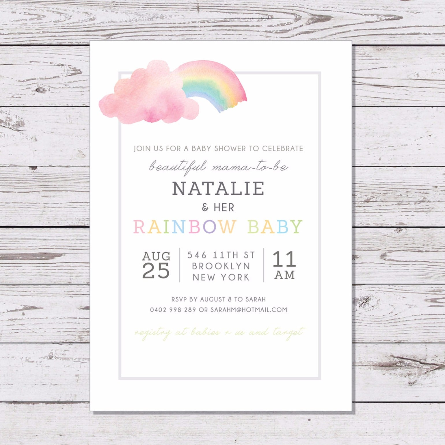 Water Color Rainbow Baby Shower Invitation ($15) | Rainbow Baby ...