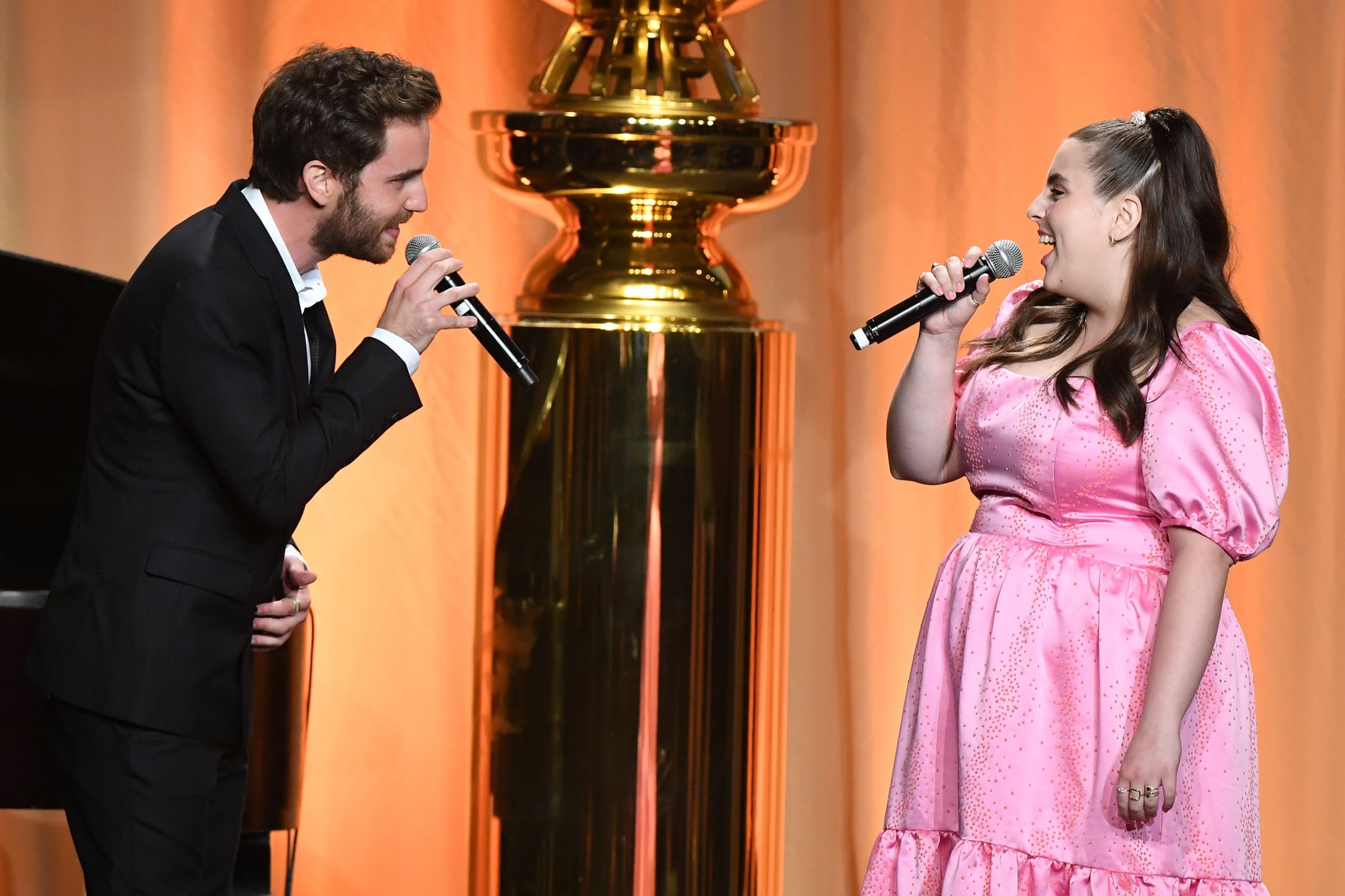 US actress Beanie Feldstein and US actor Ben Platt perform on stage during the Hollywood Foreign Press Association Annual Grants Banquet at The Beverly Wilshire, in Beverly Hills on July 31, 2019. (Photo by Valerie MACON / AFP)        (Photo credit should read VALERIE MACON/AFP/Getty Images)
