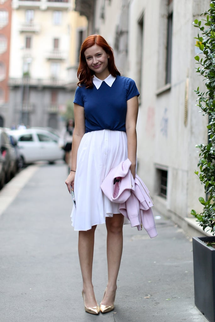 It also makes it easy to turn a dress into a skirt if you add a button-down or a tee over the top half and tie it at the waist to create the illusion of separate bottom half, like so.