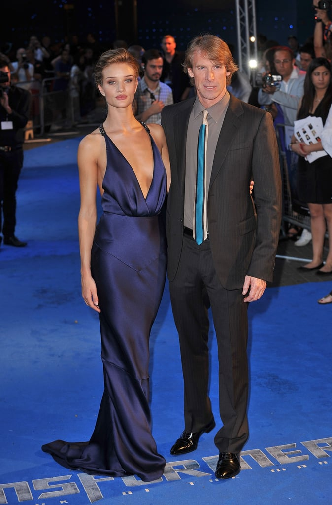 Rosie Huntington-Whiteley showing off Transformers: Dark of the Moon in Paris with Michael Bay.