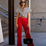 With Red Wide-Leg Trousers