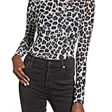 Nordstrom Ten Sixty Sherman Leopard Print Mesh Turtleneck Top