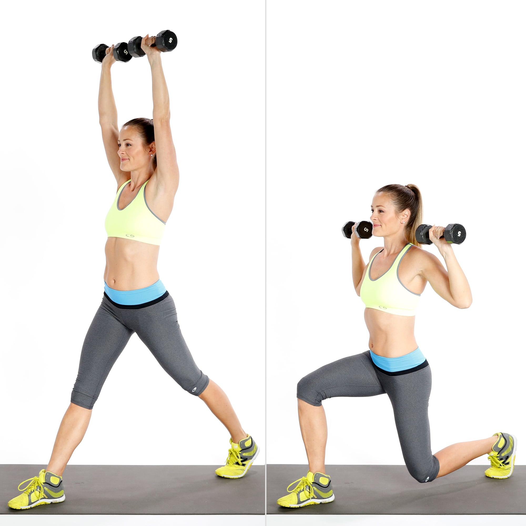 Split Squat With Overhead Press | POPSUGAR Fitness